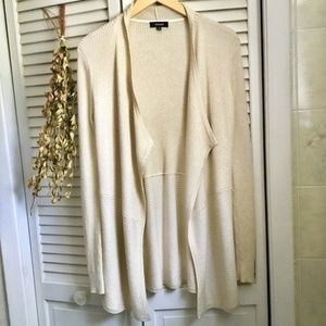 {Premise} Gold Specked Cream Waterfall Cardigan, M